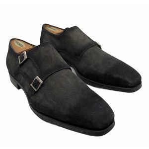 MAGNANNI Double Monk Strap Charcoal Suede Shoes